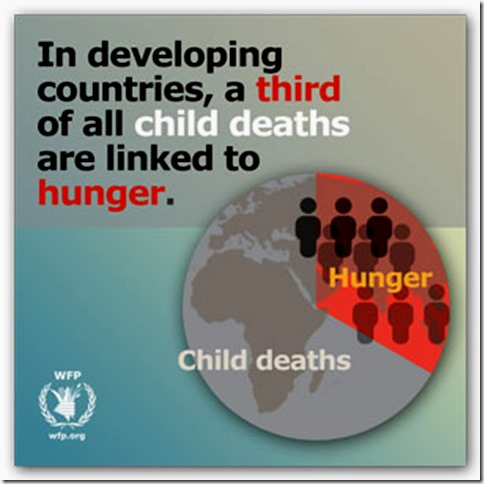 A third of al child deaths are linked to hunger