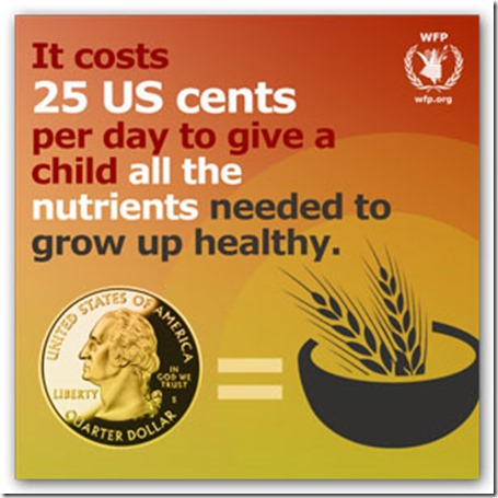 it costs 25 us cents per day to giv a child all thenutrients needed to grow up healthy