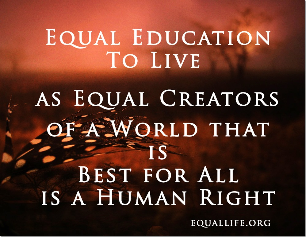 Equal Education - equal life, equal money